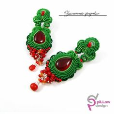 Soutache earings with jade stones, carnelian and coral. Special custom order.