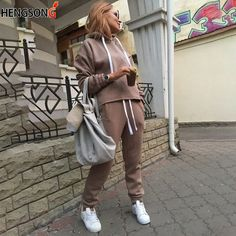 16ee89a721f93 New Fashion Female Set Leisure Suits Autumn Hooded Pullover Fleece Loose  Pants two-piece Set Women Solid Hoodies Trousers Pants