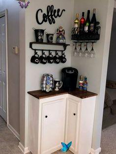 30+ On a Budget DIY Home Decor Ideas for Your Small Apartment #smallhomedecor #d..., #Apartme...  <br> Mini Cafeteria, Make Your Own Coffee, Decoration Inspiration, Decor Ideas, Diy Ideas, Decorating Ideas, Corner Decorating, Theme Ideas, Ideas Para