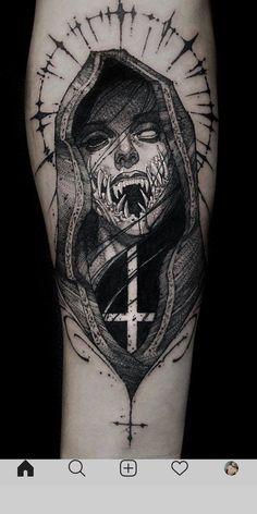 Tattoo Design Drawings, Skull Tattoo Design, Tattoo Sketches, Tattoo Designs, Evil Tattoos, Creepy Tattoos, Black Tattoos, Nature Tattoo Sleeve, Sleeve Tattoos