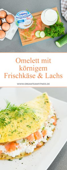 Healthy Omelette with cream cheese and salmon // Omelett mit körnigem Frischkäse und Lachs, Proteinbombe #healthy #protein