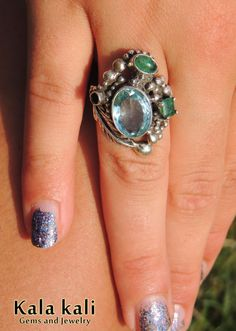AAA GEM Aquamarine faceted and Green Natural Emeralds by KalaKali, €280.00