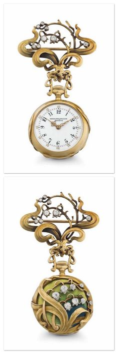 PATEK PHILIPPE. A VERY FINE AND ATTRACTIVE 18K GOLD, ENAMEL AND DIAMOND-SET OPENFACE KEYLESS LEVER ART NOUVEAU PENDANT WATCH WITH MATCHING BROOCH - 1901