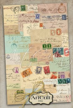 OLD VINTAGE LETTERS - Digital Download Collage Sheets Printable Wrapping Paper for Gifts Scrapbook craft Art Cult graphics, transfer images