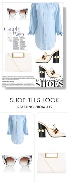 """""""Embellished Shoes"""" by bonolon on Polyvore featuring Gucci, Thierry Lasry, New Look and embellishedshoes"""