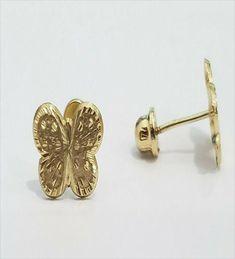Wellingsale 14K Yellow Gold Polished Ribbon Stud Earrings With Screw Back