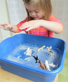 Arctic Ice -- LOVE this winter sensory table idea!!
