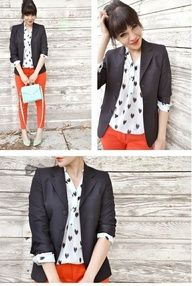 Black jacket, pattern shirt and colored pants