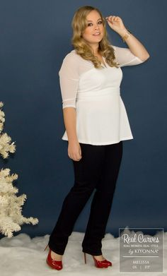 "Return Rockstar Melissa (5'5"" and a size 0x) looks beautiful in winter white in our plus size Pretty Peplum Mesh Top. www.kiyonna.com #KiyonnaPlusYou #MadeintheUSA"