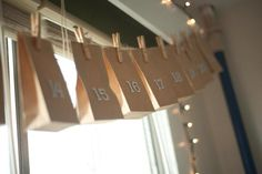 Advent Calendar.  Simple paper bags, could even write the numbers on and put something simple inside.  This is a great, affordable idea to do until I can make something more permanent