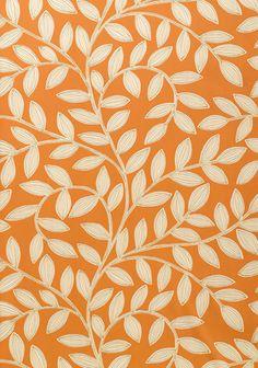 Bold Orange wallpaper with white and light brown illustrated leaf design. From Thibaut. Orange Wallpaper, Bold Wallpaper, Pattern Wallpaper, Leaves Wallpaper, Wallpaper Backgrounds, Construction Wallpaper, Decoupage, Pantone Color, Leaf Design