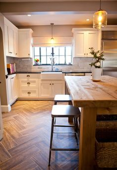 COTTAGE AND VINE: Wood Tile in the kitchen | farmhouse table as kitchen island