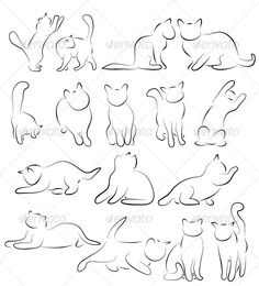 Buy Cat Silhouettes by ld-design on GraphicRiver. Set of Cat Silhouettes. Animal Sketches, Animal Drawings, Cat Drawing, Painting & Drawing, Texture Illustration, Cat Tattoo Designs, Dog Tattoos, Tattoo Cat, Cat Outline Tattoo