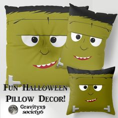Cute Halloween Frankenstein Pillows at Society6 by #Gravityx9 Designs ~ Fun for Kids Room during Halloween Time and after! #Halloween #HalloweenDecor #HalloweenPillows #Frankensteinpillow #frankensteins