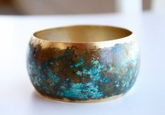 Brass patina boho bracelet