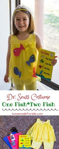 DIY Dr Seuss Costume {One Fish Two Fish} ⋆ Homemade for Elle - - One Fish Two Fish Costume. A DIY Dr Seuss Costume featuring One Fish Two Fish. Easy to make and inexpensive - perfect halloween costume for a child! Story Book Costumes, Storybook Character Costumes, World Book Day Costumes, Storybook Characters, Easy Book Week Costumes, Dr. Seuss, Dr Seuss Day, Book Characters Dress Up, Character Dress Up