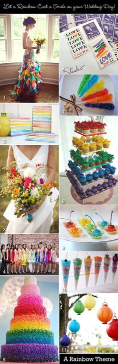 A rainbow-themed wedding with multicolors, would be nice for someone's wedding. Don't know about the wedding dress.