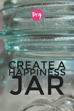 Creating a simple happiness jar to gather all your thankful thoughts can create a year of gratitude and joy! Happy Jar, I Am Happy, Are You Happy, Used Vinyl, Glass Blocks, S Word, Motivation Inspiration, Gratitude, Diy Gifts