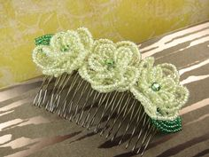 Lemon Sorbet Rose - Hair Comb - French Beaded Flower Lemon Sorbet, French Beaded Flowers, Small Rose, Rose Hair, Beading Tutorials, Hair Comb, Hair Jewelry, Special Day, Seed Beads