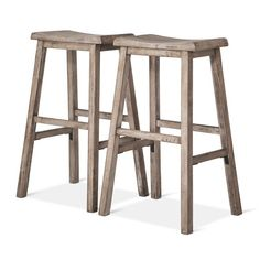 "• Made of sturdy wood<br>• Measures 29"" high, perfect for higher bars<br>• Includes 2 stools<br><br>Outfit your bar area with a weathered wood, farmhouse feel with the Trenton 29"" Barstool in Gray (Set of 2) from Threshold. These stools keep you comfortable with a saddle seat and footrests."