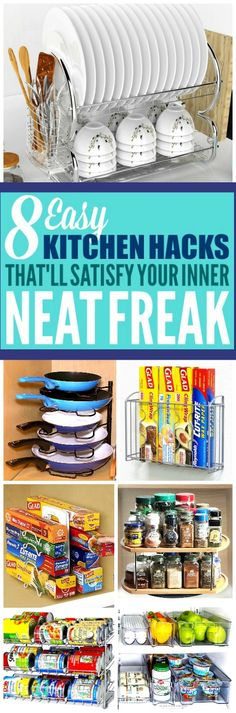 These 8 kitchen organization ideas are the best! I'm so glad I found these AMAZING home hacks! Now I have some great organization tips and organizing hacks!