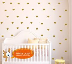 wall decal golden hearts  www.funky-lama.com