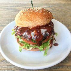"""Black Bean Burger with Bourbon BBQ Sauce  Vermont Cheddar  Lettuce and Tomato on Grilled Brioche! #mmmmgood  #comfortfood #homecooked #lilrhody #brunch #deliciousness #handmade #farmfresh #farmtofork #rieats #eatlocal #yum"" @eliskitchenwarren"