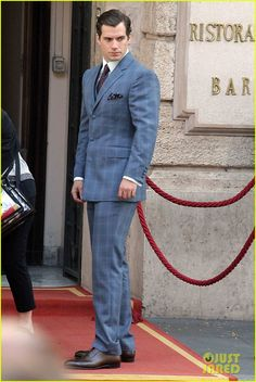 Henry Cavill on the set of his latest film The Man from U.N.C.L.E. on Thursday (October 3) in Rome, Italy.