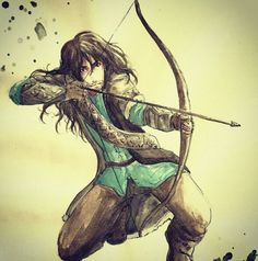 Kili in a really cool archer pose (don't judge me, it's great artwork!)
