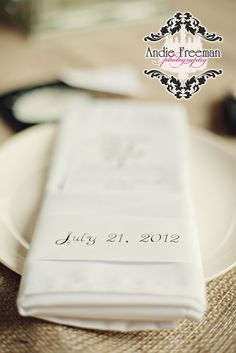 Handmade menu with date wrapped in paper.   Summer shabby chic barn wedding. Photography by Andie Freeman Photography www.TheAthensWeddingPhotographer.com Event design, floral, and planning by Wildflower Event Services www.WildflowerEventServices.com Venue:  Private property in Chickamauga, Ga Barn Wedding Inspiration, Event Services, Private Property, Event Design, Wedding Details, Summer Wedding, Wild Flowers, Real Weddings, Shabby Chic