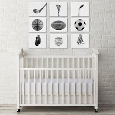 White Background Sports Collection Black and White by shawnstpeter. Dad will love this nursery idea for our baby boy!