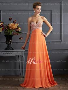 Trendy A-Line/Princess Sweetheart Sleeveless Rhinestone Sleeveless Floor-length Chiffon Dress- Personalize your color & fabric