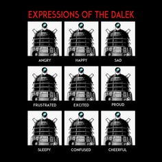 Chicago's Big Bad Robot designed this easy guide to help decipher the Daleks' complicated, nuanced expressions.  Teepublic