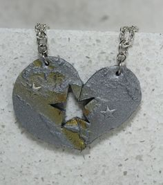 Puzzle Heart Puzzle Necklaces set of 2 Gold by GirlwithaFrogTattoo, $30.00