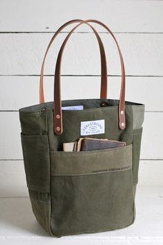WWII era Canvas Pocket Tote Bag