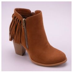 Fall Fashion Must Have! Fringe Tan Bootie Boots with Heel - Cheryl's Galore and More - 1