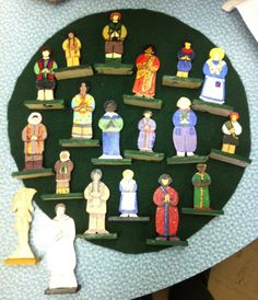 These are the beautifully painted international figures for the Eucharistic Presence work from the Level 2 atrium at St. Giles Family Parish/Grace Episcopal Church in Oak Park, IL