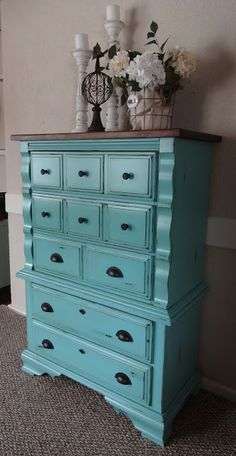 createinspire: Robin Egg Dresser SW, reflecting pool with minawax provincial stain as glaze, Beautiful Chalk Paint Furniture, Furniture Projects, Furniture Making, Furniture Makeover, Shabby Chic Furniture, Bedroom Furniture, Diy Furniture, Glazing Furniture, Repurposed Furniture
