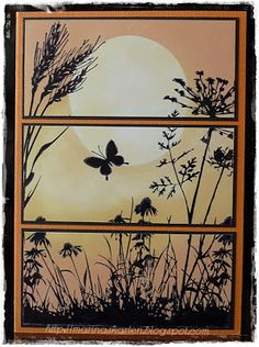 handmade greeting card ... split panel design ... sponged sunset ... meadow flowers and butterfly in silhouette ... great card!