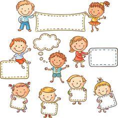 Kinder mit leeren Schildern – Vektorgrafik