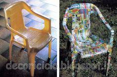 recupera una sedia di plastica rovinata con la carta dei fumetti