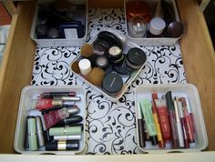 Makeup drawer organized. I think I'll use these drawer bins http://www.spacesavers.com/Storage/Desk-Junk-Drawer-Organizers/Clear-Drawer-Organizer-Bin-by-InterDesign-6-x-6-x-2