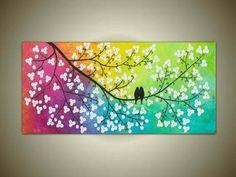cuadros tripticos arbol de la vida y pajaros pintados a mano