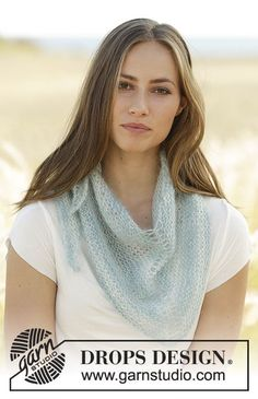 Neri - Shawl in garter stitch, worked top down in 2 strand DROPS Kid-Silk. Free knitted pattern DROPS 178-40