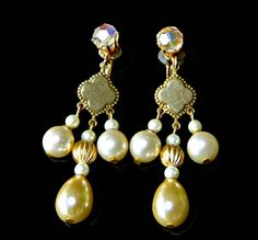 Vendome Earrings Pearl and Crystal Drop Clip by EclecticVintager