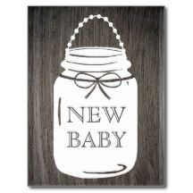 Clay Rustic Mason Jar New Baby Announcement Postcard