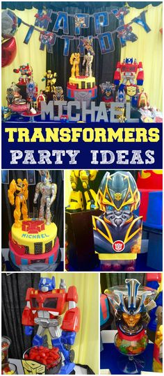 Check out this cool Transformers party! Amazing decorations! See more party ideas at CatchMyParty.com!
