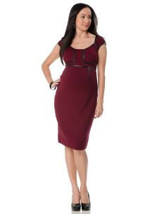 A Pea in the Pod Short Sleeve Faux Leather Trim Maternity Dress