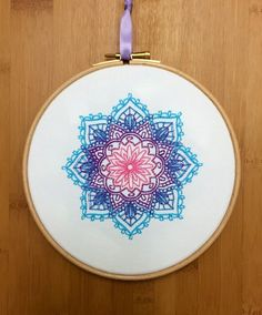 Mandala indio bordado brillante aro arte color de rosa