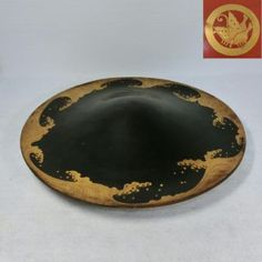 D242: Real Old Japanese Lacquered Samurai Military Hat Jingasa With Wave Pattern photo